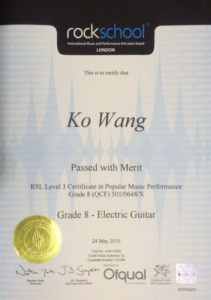2015 Rockschool Grade 8 - Wang
