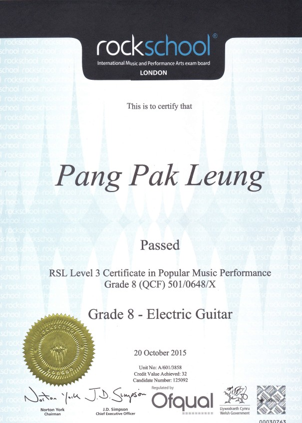 2015 Rockschool Grade 8 - Leung
