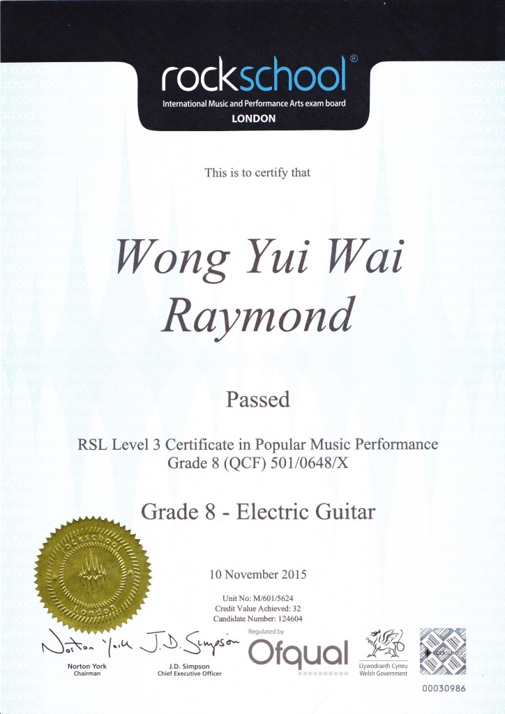 2015 Rockschool Grade RSL Level 3 - Raymond